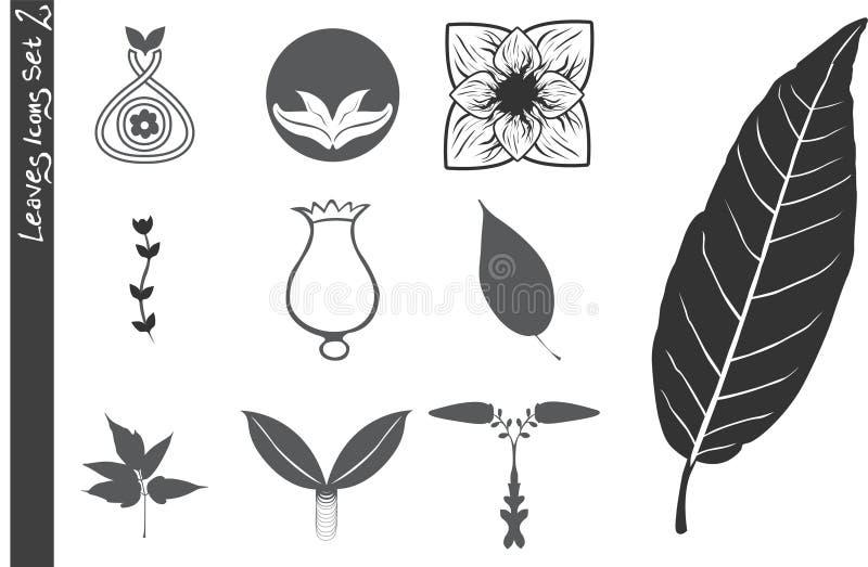 Os ícones das folhas ajustaram 2 imagens de stock royalty free