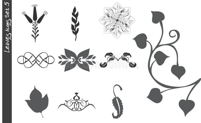 Os ícones das folhas ajustaram 5 imagens de stock royalty free