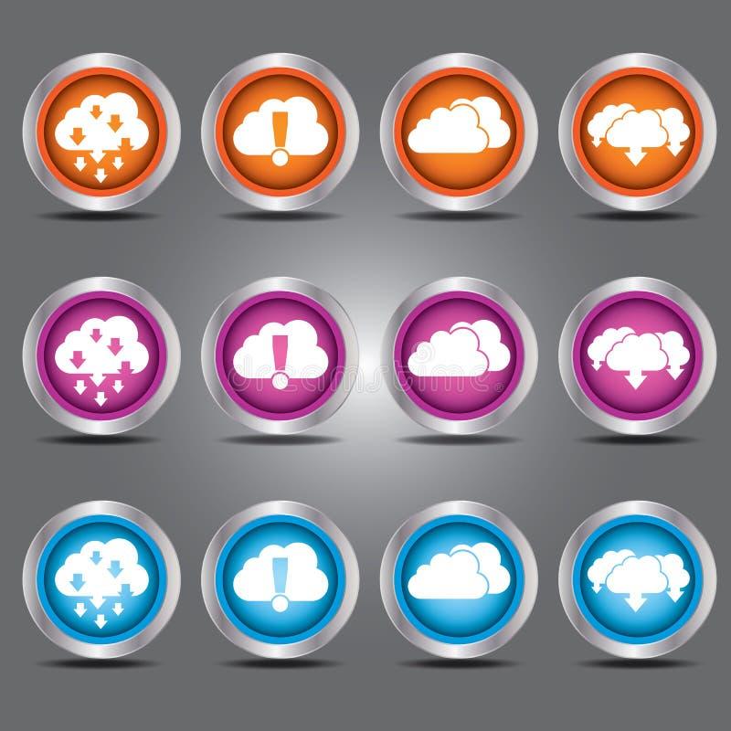 Os ícones das nuvens do vetor ajustaram-se com tema da transferência de arquivo pela rede e da transferência no botão de vidro pa ilustração do vetor