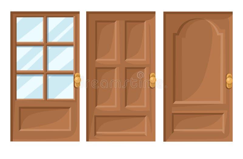 Os ícones das portas ajustados abrigam desenhos animados e projetam a página isolada da site da ilustração do vetor da ilustração ilustração royalty free
