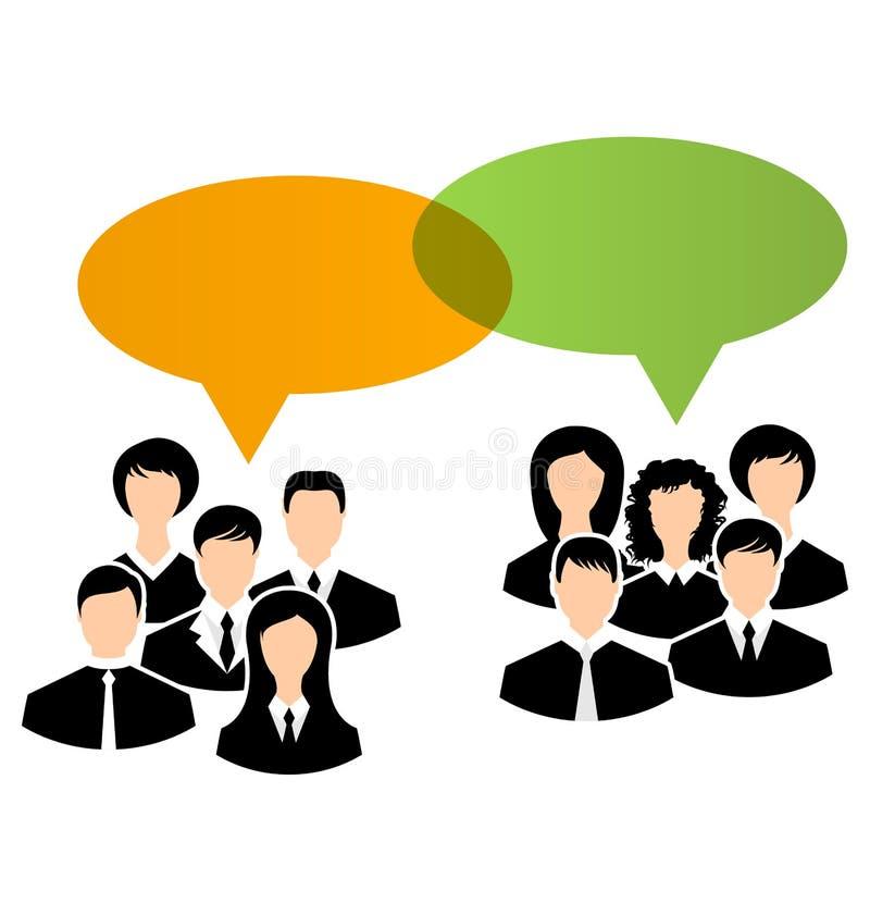 Os ícones das unidades de negócio compartilham de suas opiniões, bub do discurso dos diálogos ilustração royalty free