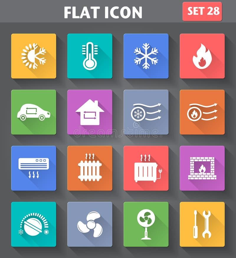 Os ícones de aquecimento e refrigerando ajustaram-se no estilo liso com sombras longas ilustração stock