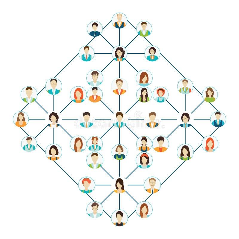 Os ícones de conexão dos povos ajustaram-se isolado no fundo branco ilustração do vetor