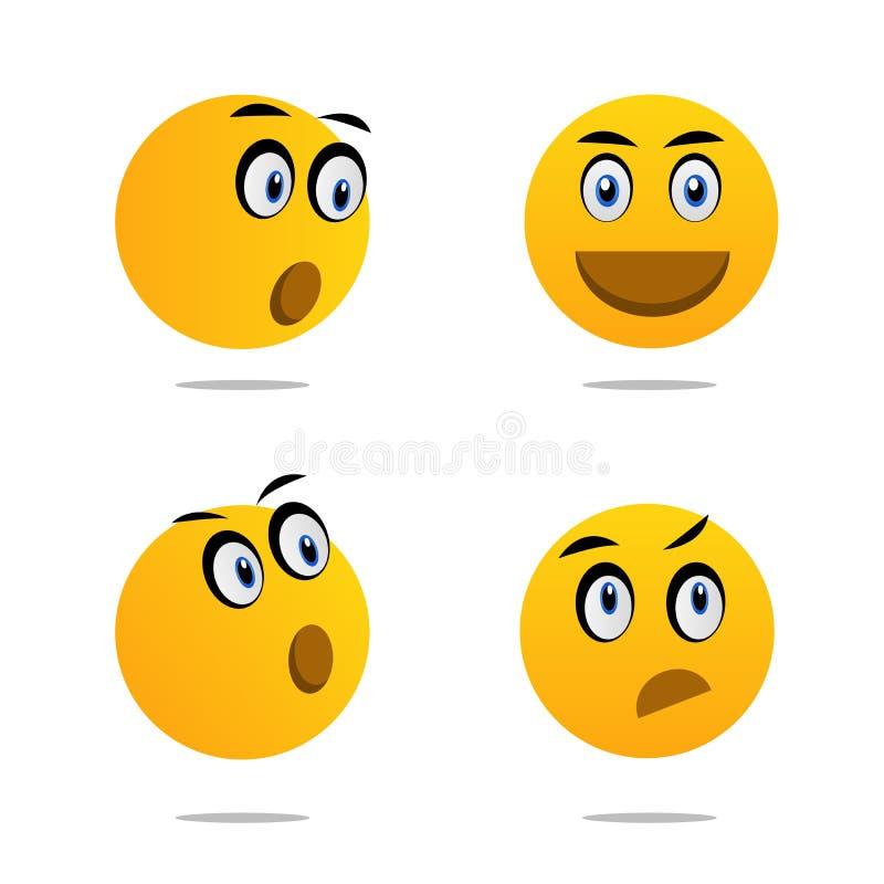 Os ícones de Emoji ajustaram a arte do vetor ilustração stock