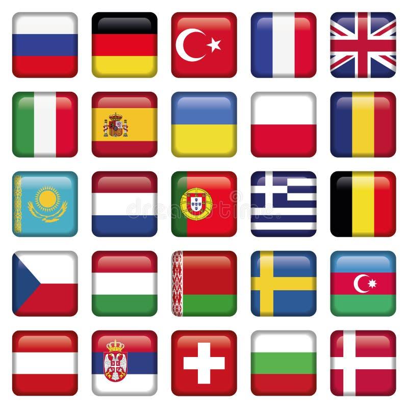 Os ícones de Europa esquadraram bandeiras ilustração do vetor