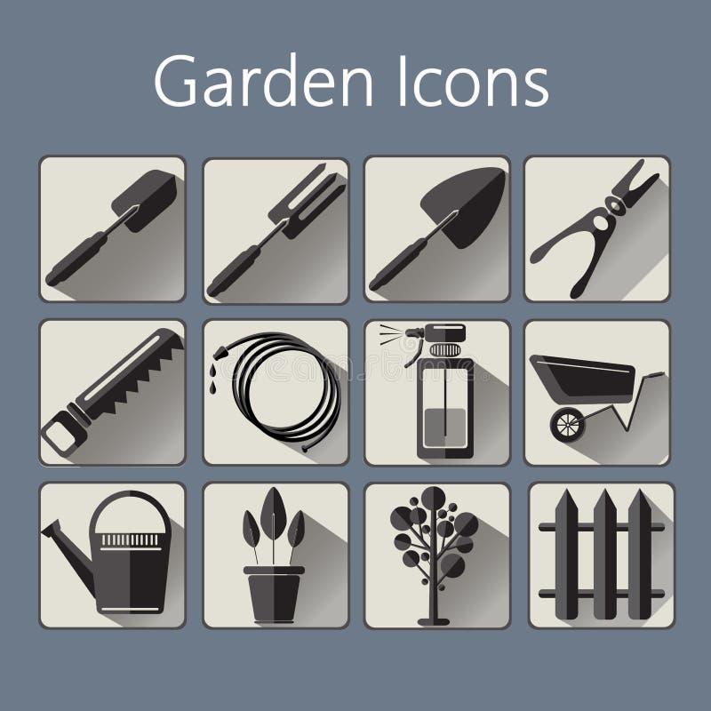 Os ícones de jardinagem ajustaram-se sobre um fundo azul de prata ilustração royalty free