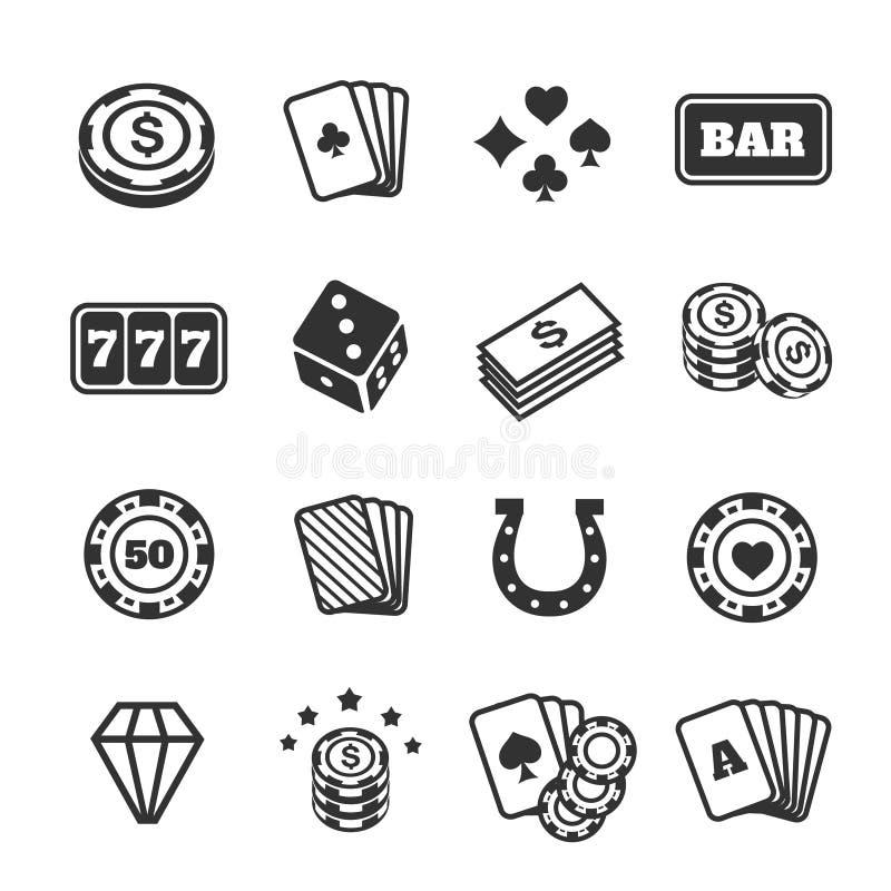 Os ícones de jogo ajustaram-se, casino e cartão, jogo de pôquer ilustração do vetor