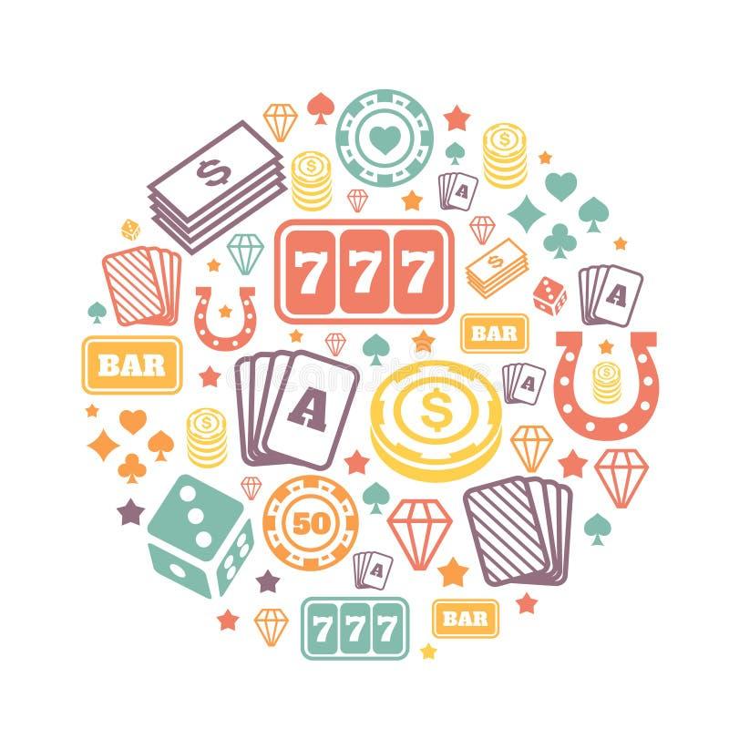 Os ícones de jogo ajustaram-se, casino e cartão, jogo de pôquer ilustração royalty free