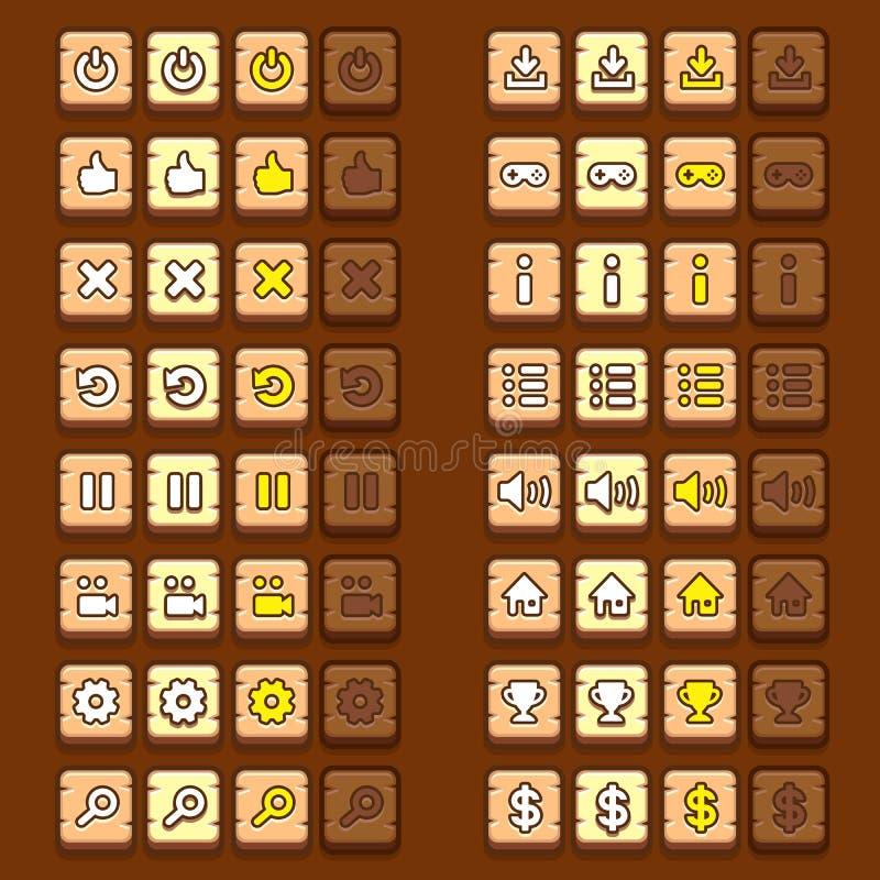 Os ícones de madeira do jogo abotoam ícones, relação, ui ilustração stock