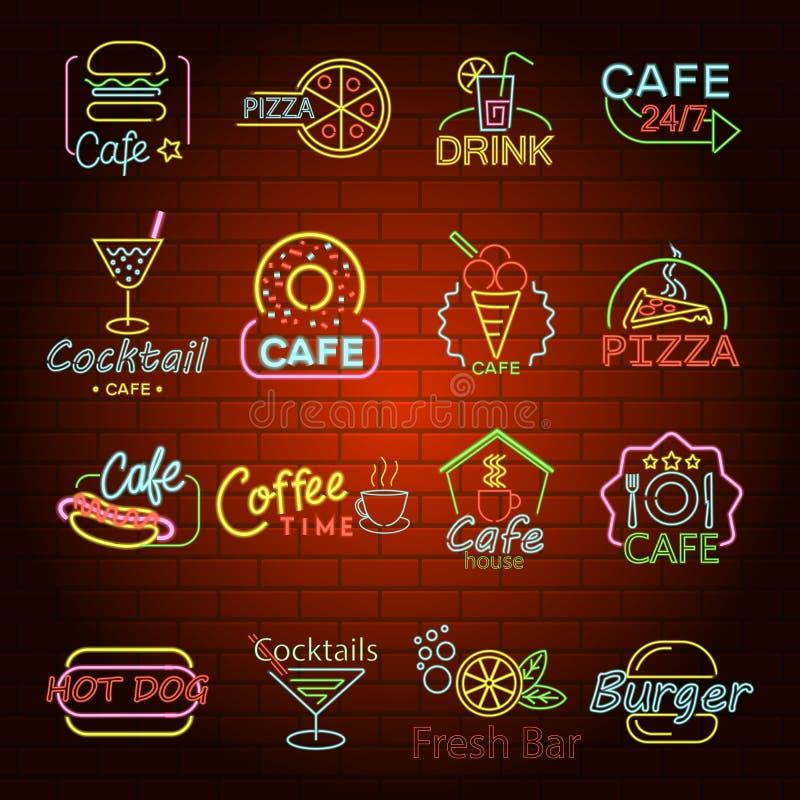 Os ícones de néon do sinal da loja do fast food ajustaram-se, estilo liso ilustração royalty free