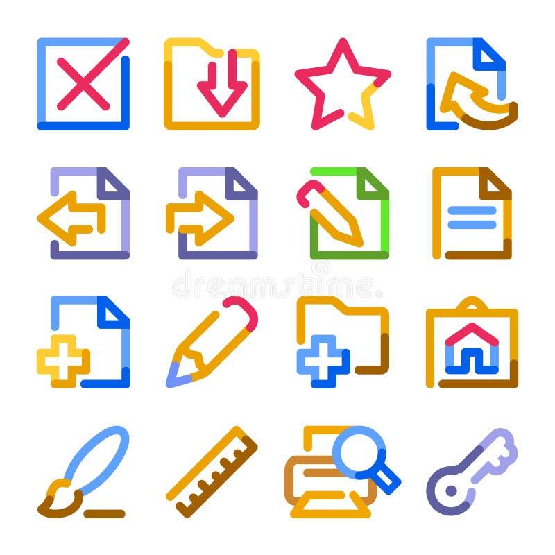 Os ícones de original, ajustaram 2. séries do contorno da cor. ilustração do vetor
