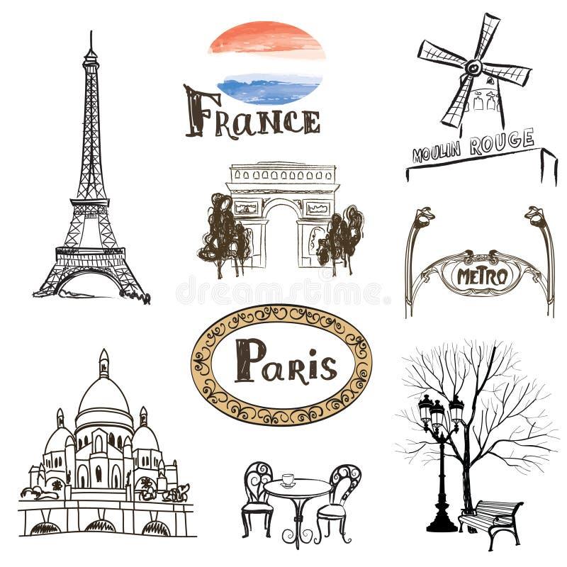 Os ícones de Paris ajustaram-se Marcos desenhados à mão de França: Eiffel ilustração royalty free