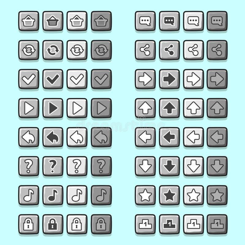 Os ícones de pedra do jogo abotoam ícones, relação, ui ilustração do vetor