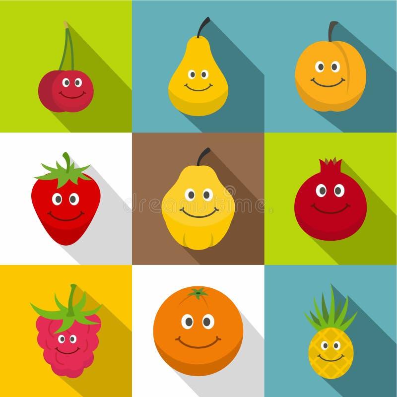Os ícones de sorriso felizes do fruto ajustaram-se, estilo liso ilustração do vetor