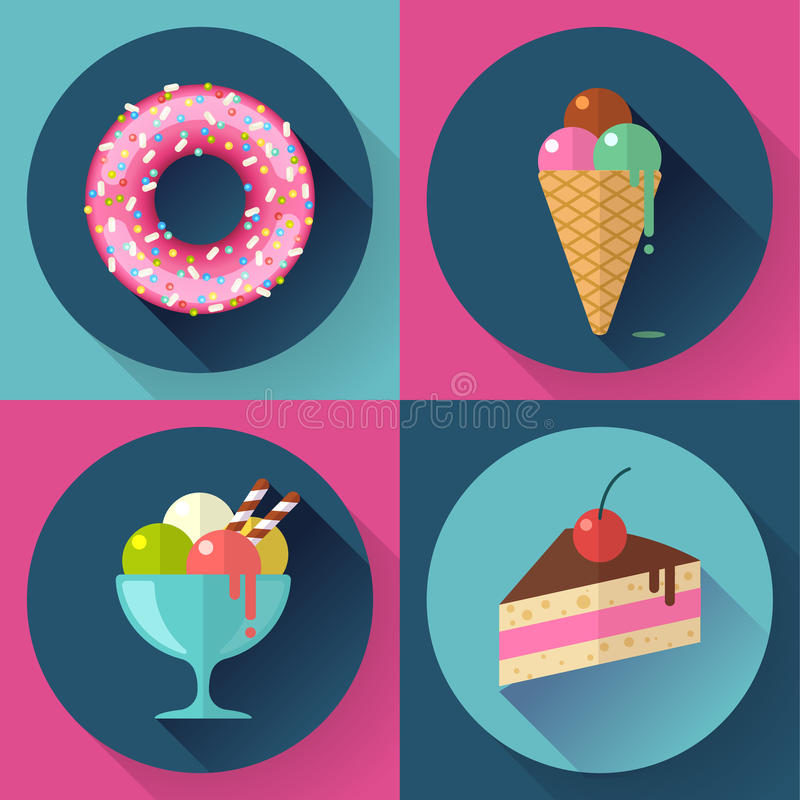 Os ícones decorativos dos bolos e dos doces ajustaram-se com filhós ilustração royalty free
