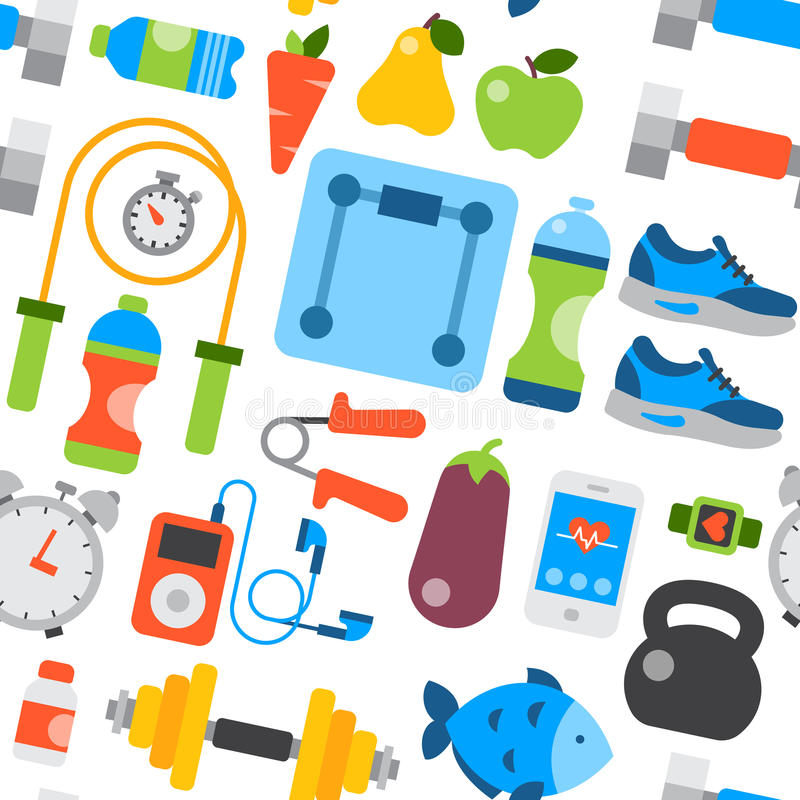 Os ícones diários comer do estilo de vida saudável e o fundo sem emenda do teste padrão dos fitnes do estilo de vida das sapatilh ilustração do vetor