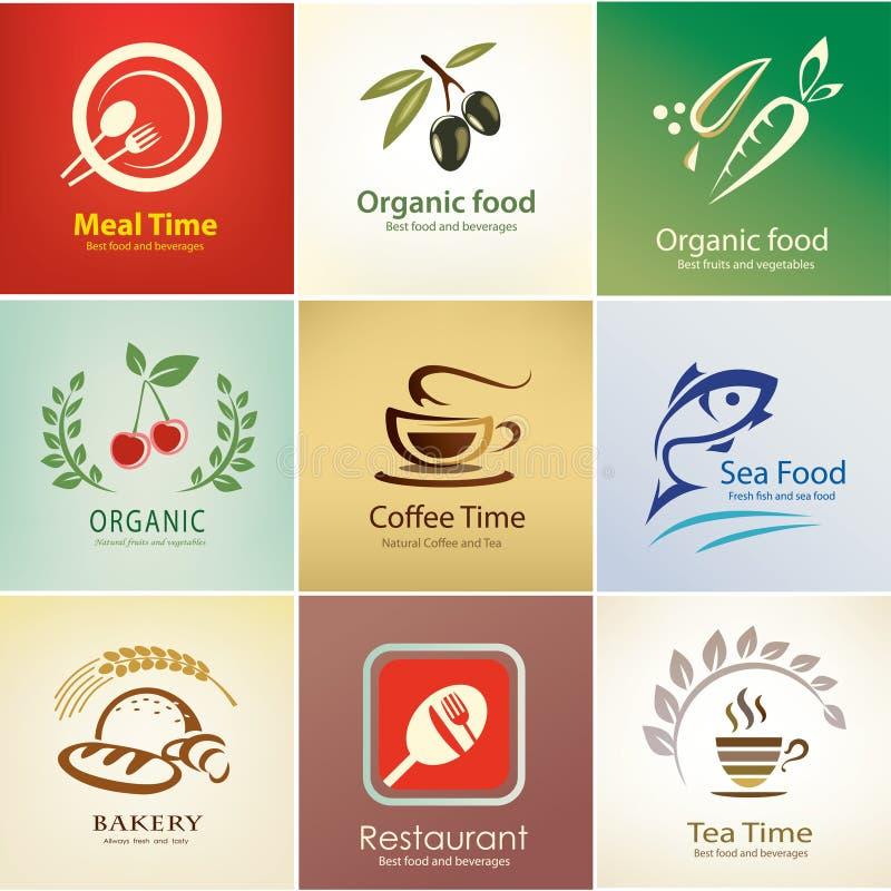 Os ícones do alimento e das bebidas ajustaram-se, moldes do fundo ilustração stock