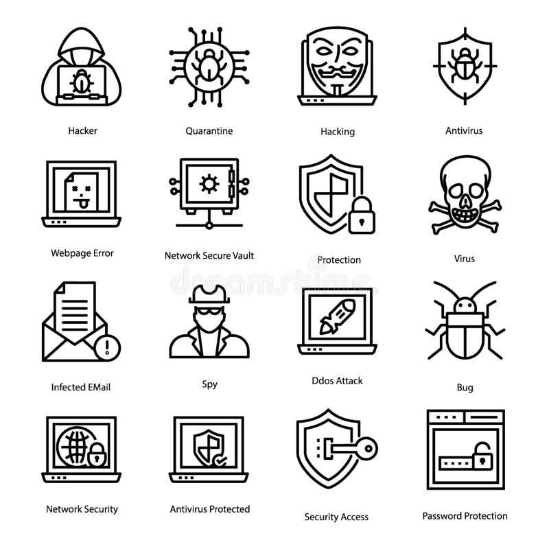 Os ícones do Antivirus embalam ilustração royalty free