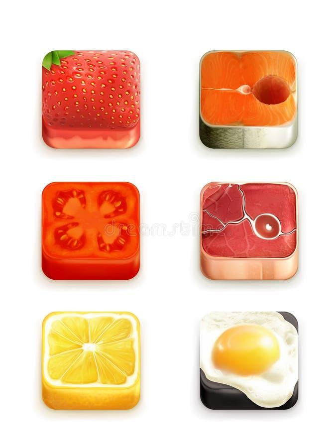 Ícones do app do alimento ajustados ilustração stock