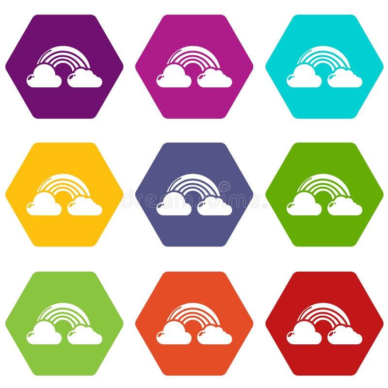 Os ícones do arco-íris ajustaram 9 ilustração stock