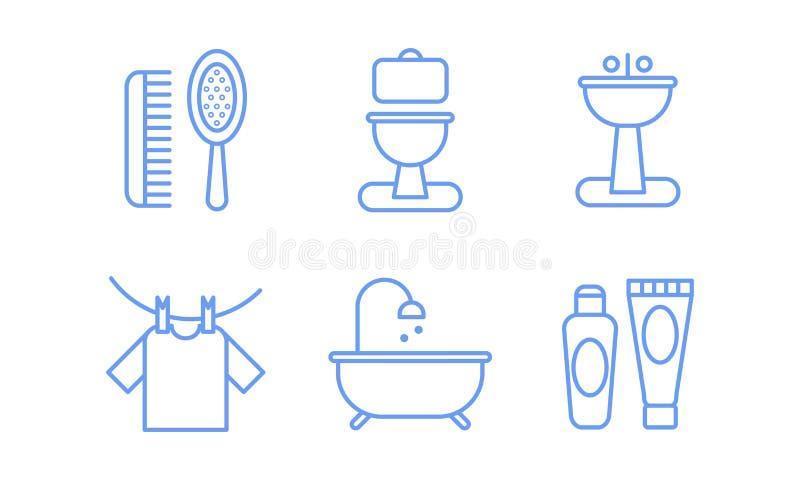 Os ícones do banheiro ajustaram-se, a higiene, ilustração linear do vetor dos símbolos do cuidado do corpo em um fundo branco ilustração do vetor