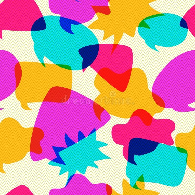 Os ícones do bate-papo das bolhas cruzam-se no teste padrão sem emenda ilustração royalty free