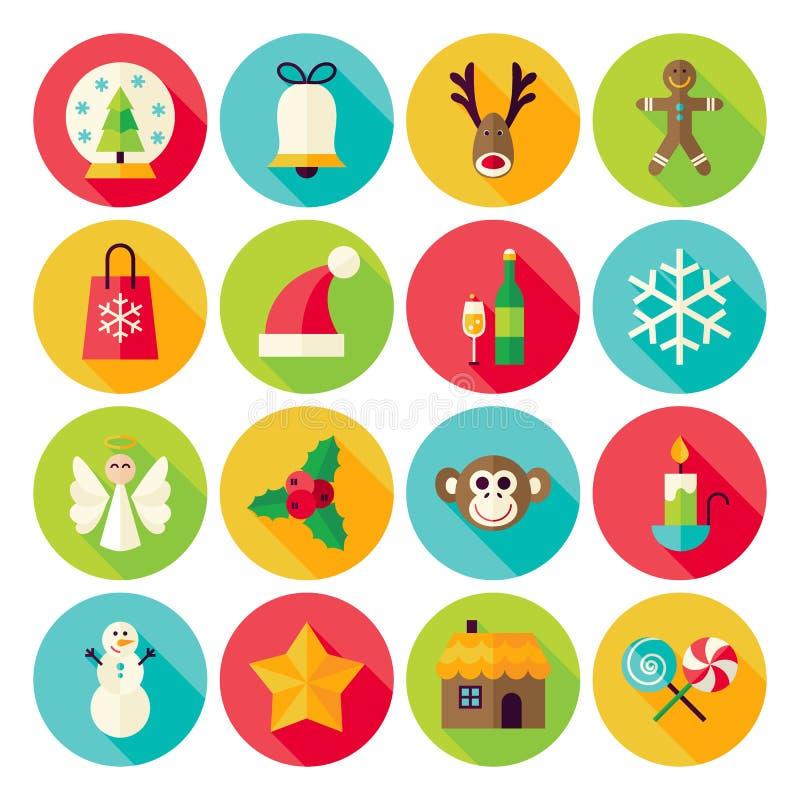 Os ícones do círculo do ano novo do Natal do inverno ajustaram-se com sombra longa ilustração do vetor