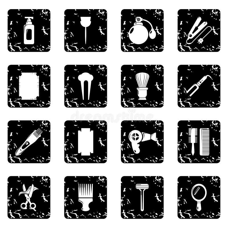 Os ícones do cabeleireiro ajustaram o vetor do grunge ilustração do vetor