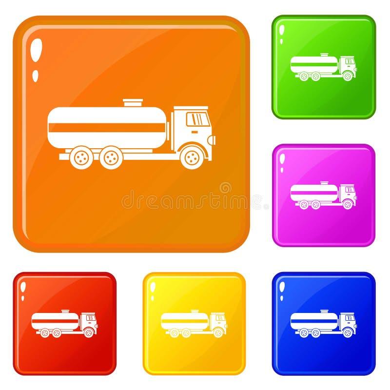 Os ícones do caminhão de petroleiro do combustível ajustaram a cor do vetor ilustração royalty free