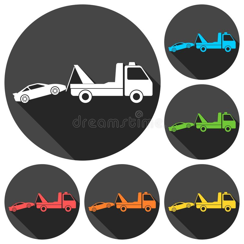 Os ícones do caminhão de reboque do carro ajustaram-se com sombra longa ilustração royalty free