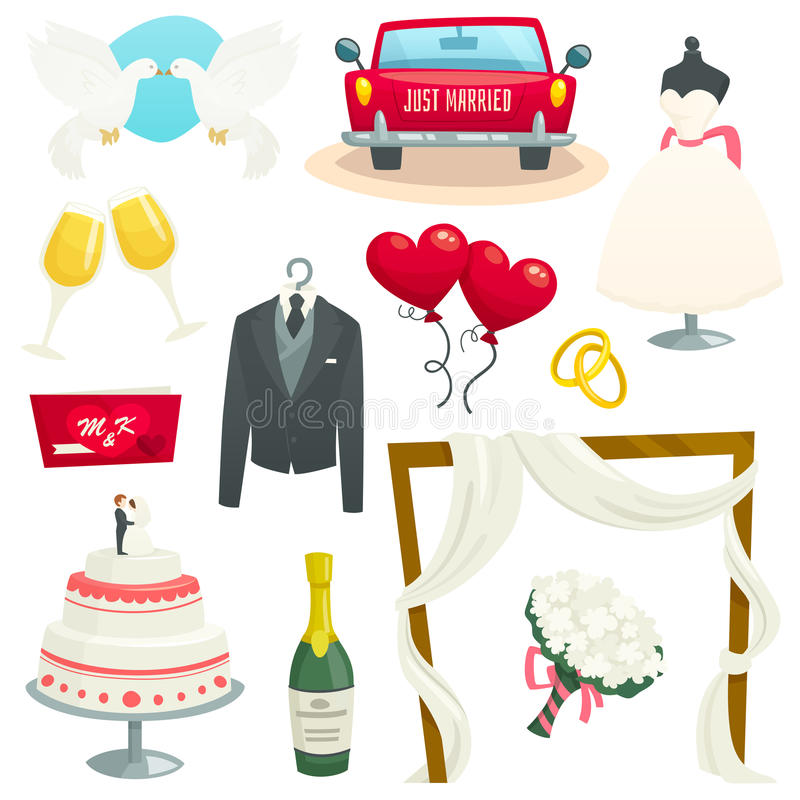 Os ícones do casamento ajustaram-se, coleção de elementos do projeto, ilustração do vetor dos desenhos animados imagens de stock royalty free