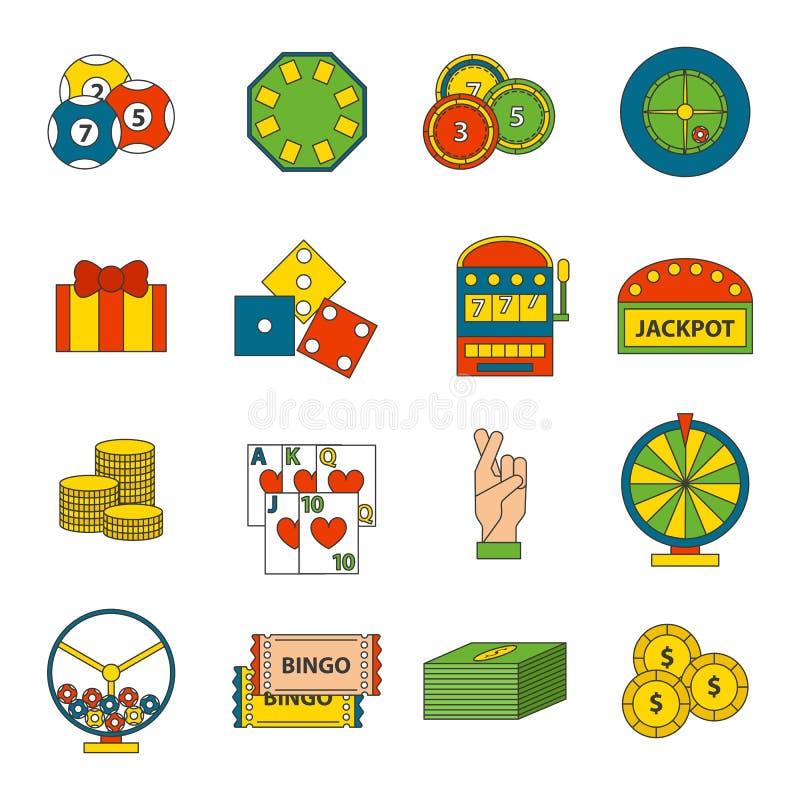 Os ícones do casino ajustados com o slot machine do palhaço do jogador da roleta isolaram a ilustração do vetor ilustração royalty free