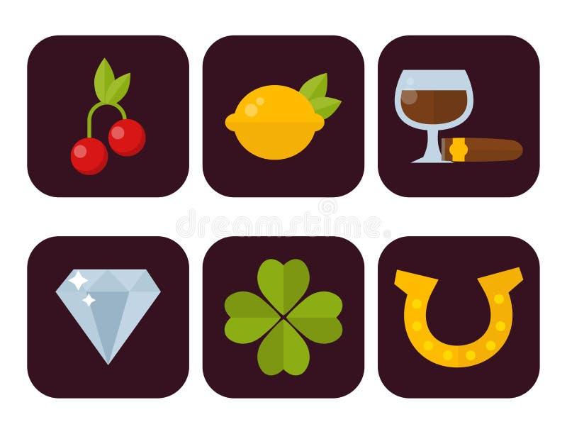 Os ícones do casino ajustaram-se com ilustração do vetor do jogo de pôquer do slot machine do palhaço do jogador da roleta ilustração do vetor
