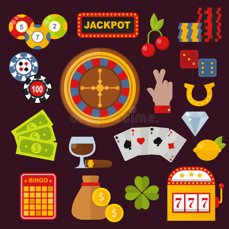 Os ícones do casino ajustaram-se com o slot machine do palhaço do jogador da roleta na ilustração branca do vetor ilustração do vetor