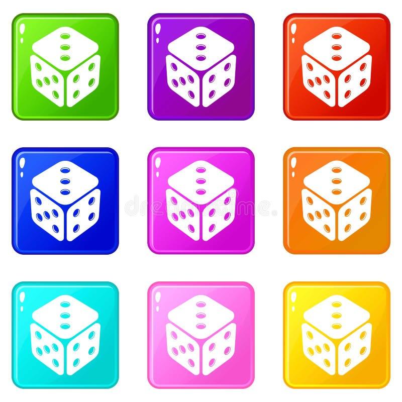 Os ?cones do casino do cubo ajustaram a cole??o de 9 cores ilustração do vetor