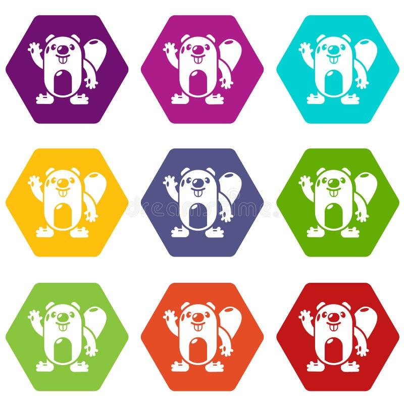 Os ícones do castor ajustaram o vetor 9 ilustração stock