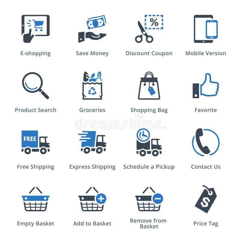 Os ícones do comércio eletrônico ajustaram 4 - série azul ilustração do vetor