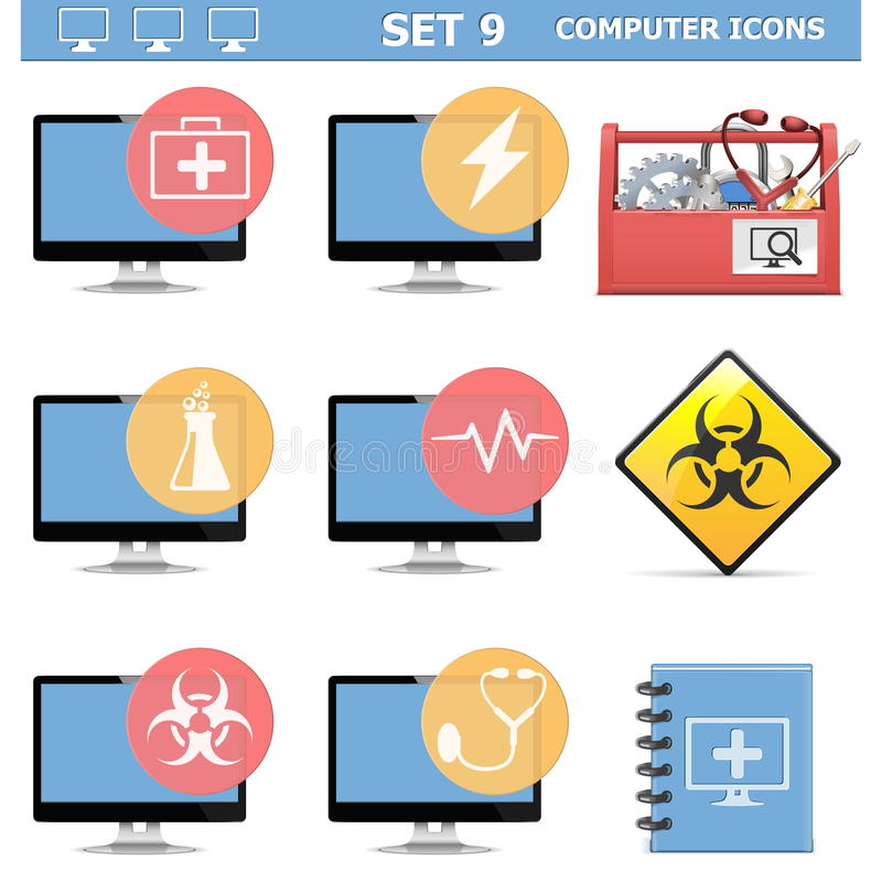 Os ícones do computador de vetor ajustaram 9 ilustração stock