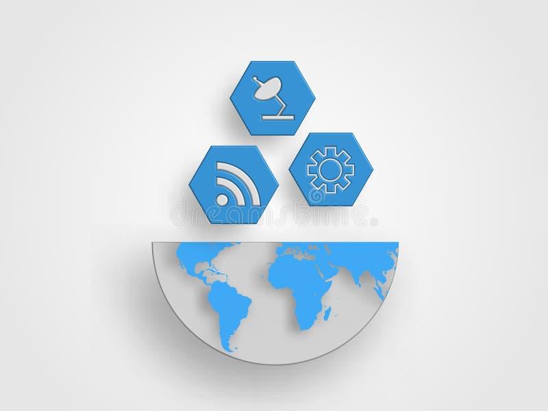 Os ícones do conceito da telecomunicação estão no meio tamanho do mapa da terra representam o conceito do commucation e da conexã fotografia de stock