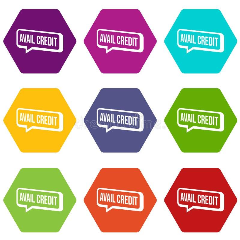 Os ícones do crédito do proveito ajustaram o vetor 9 ilustração do vetor