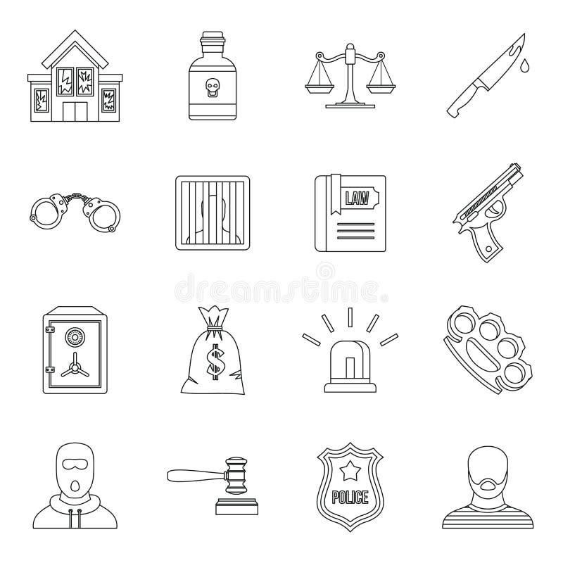 Os ícones do crime e da punição ajustam, esboçam o estilo ilustração do vetor
