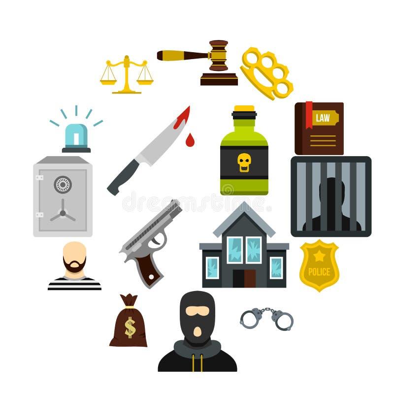 Os ícones do crime e da punição ajustaram-se, estilo liso ilustração stock