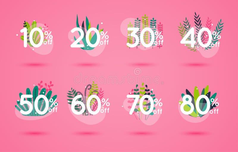 Os ícones do desconto da venda com folhas projetam Sinais do preço de oferta especial 10, 20, 30, 40, 50, 60, 70 e 80 por cento f ilustração do vetor