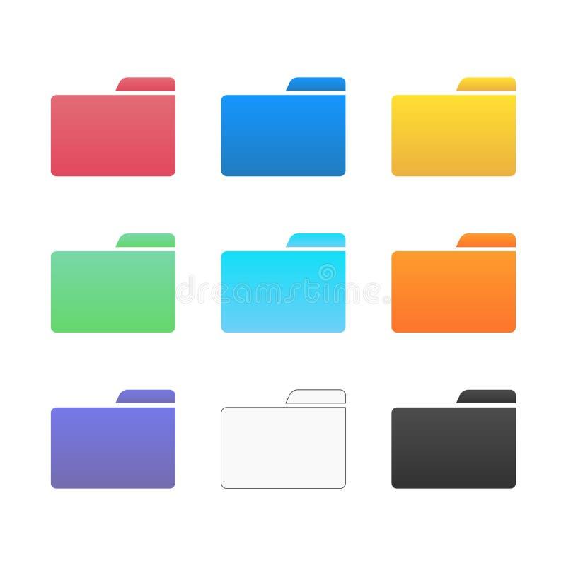 Os ícones do dobrador do computador ajustaram - a ilustração do arquivo dos dados comerciais isolada ilustração royalty free