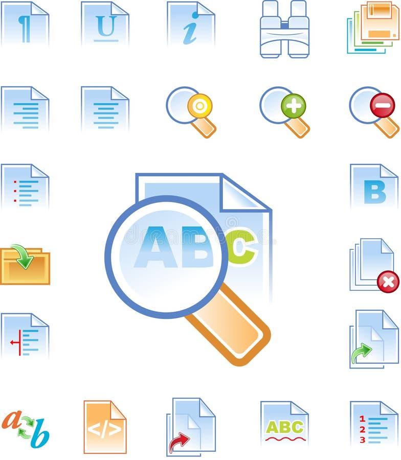 Os ícones do editor de texto ajustaram 2 ilustração stock