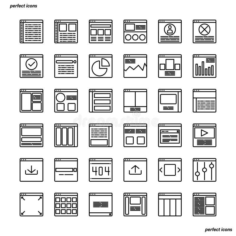 Os ícones do esboço da interface de utilizador do Web site aperfeiçoam o pixel ilustração do vetor
