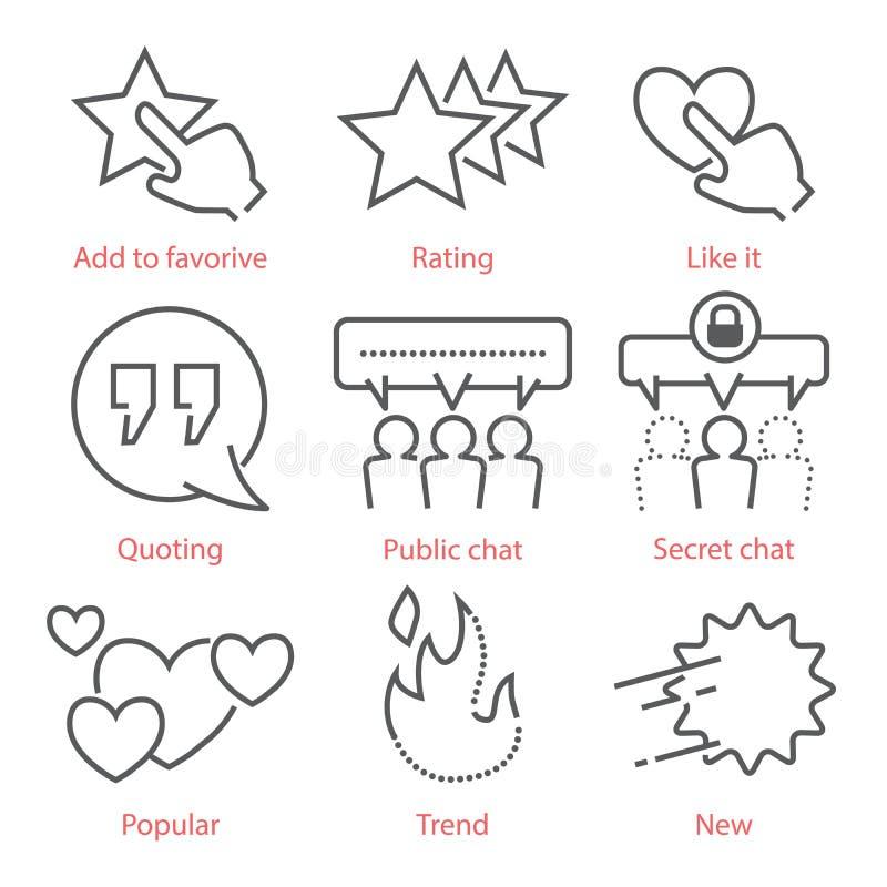 Os ícones do esboço do vetor ajustaram-se com símbolos sociais dos meios para o infographics e o móbil UX ilustração stock