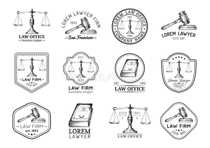 Os ícones do escritório de advogados ajustaram-se com as escalas de justiça, de ilustrações do martelo etc. Advogado do vintage d ilustração stock