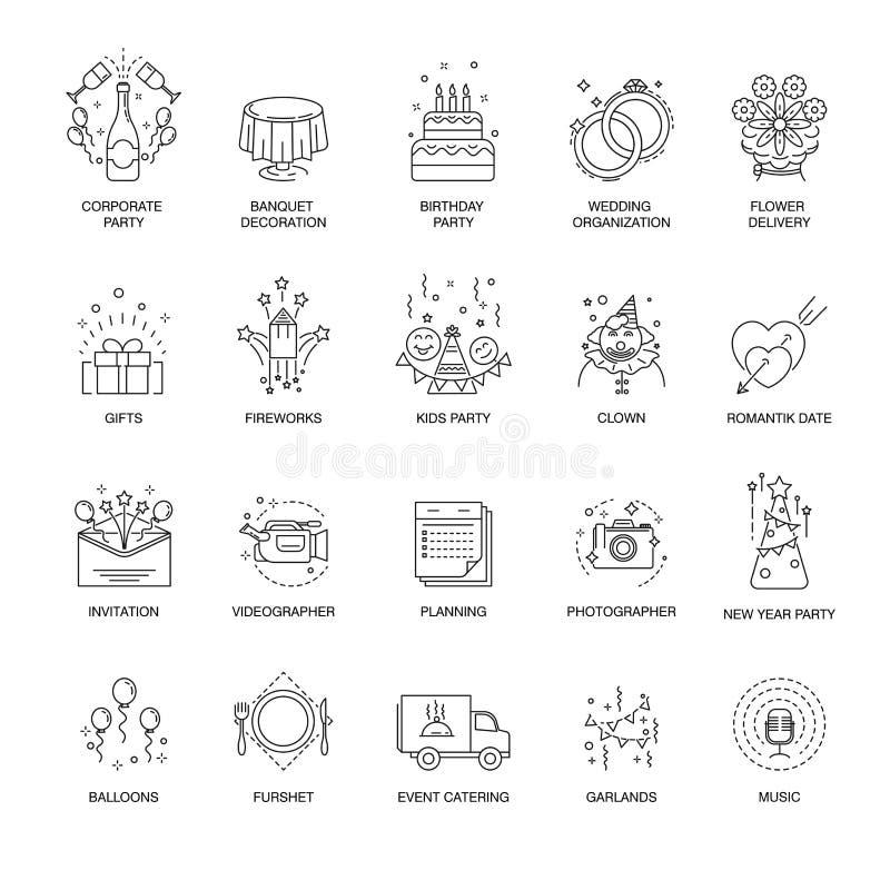 Os ícones do evento e da linha do partido ajustaram-se para o casamento, o aniversário ou o serviço de entretenimento incorporado ilustração do vetor