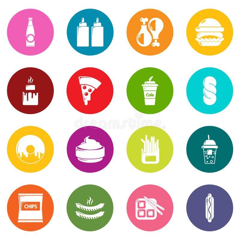 Os ícones do fast food ajustaram o vetor colorido dos círculos ilustração royalty free